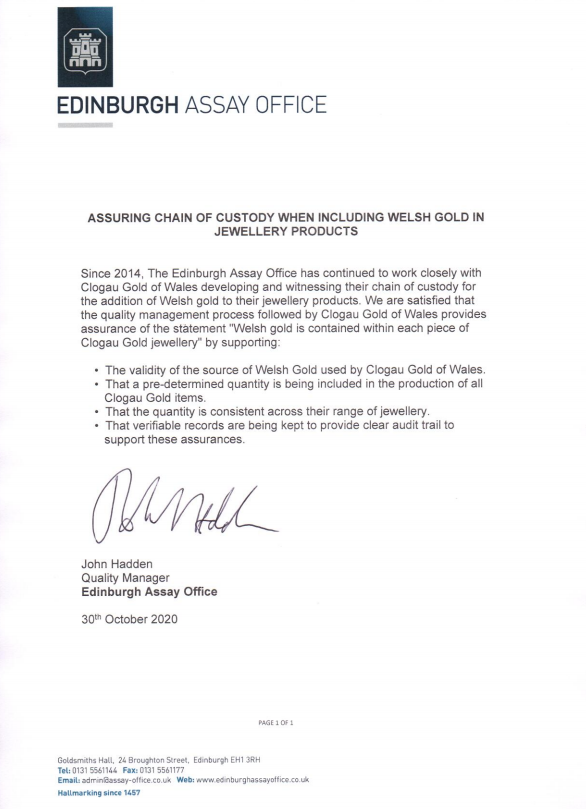 Edinburgh Assay Office statement on our Welsh Gold