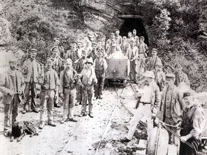 Miners at the Clogau gold mine