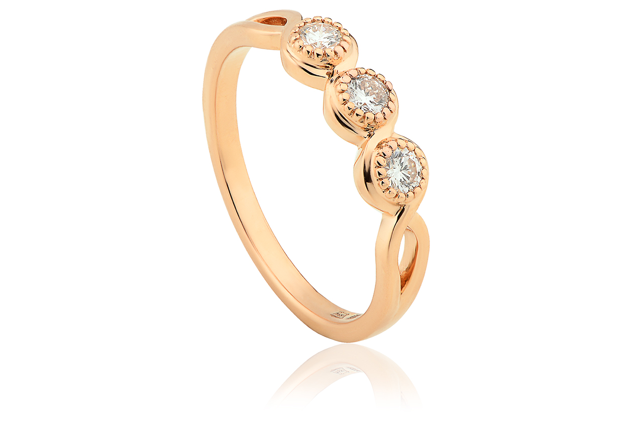 Gold 1854 18ct Welsh Royalty Trilogy Diamond Ring