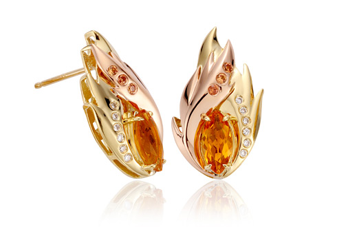 Fire Bird Diamond Earrings