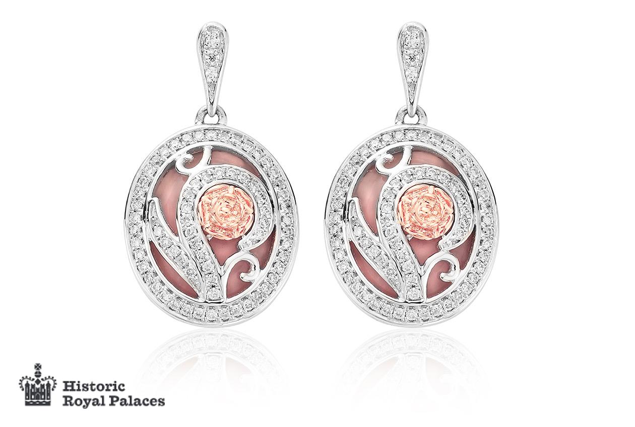 Tudor Rose Pink Opal Drop Earrings *SALE*