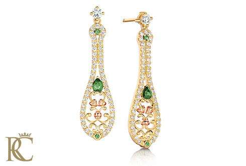 18ct gold Crown Princess Emerald Earrings *SALE*