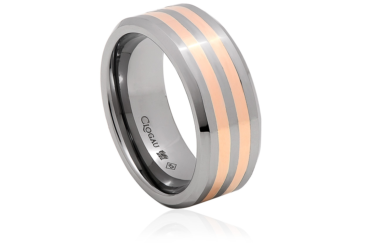 Tungsten 1.5mm Double Band Rose Gold Ring