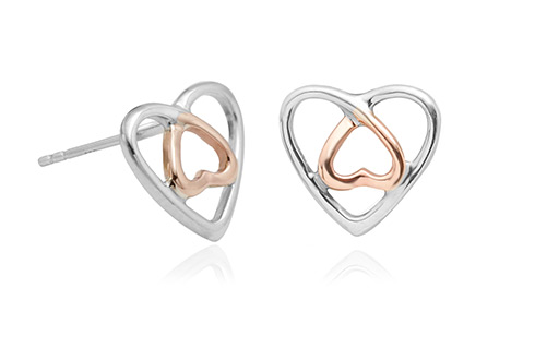 Silver & Rose Gold Celtic Heart Earrings *SALE*