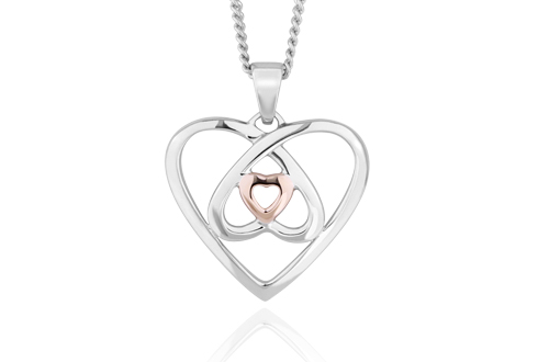 Silver & Rose Gold Celtic Heart Pendant *SALE*
