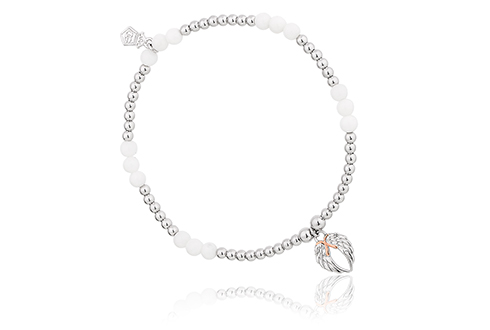 Angel Wings Heart Affinity Bead Bracelet 17-18cm