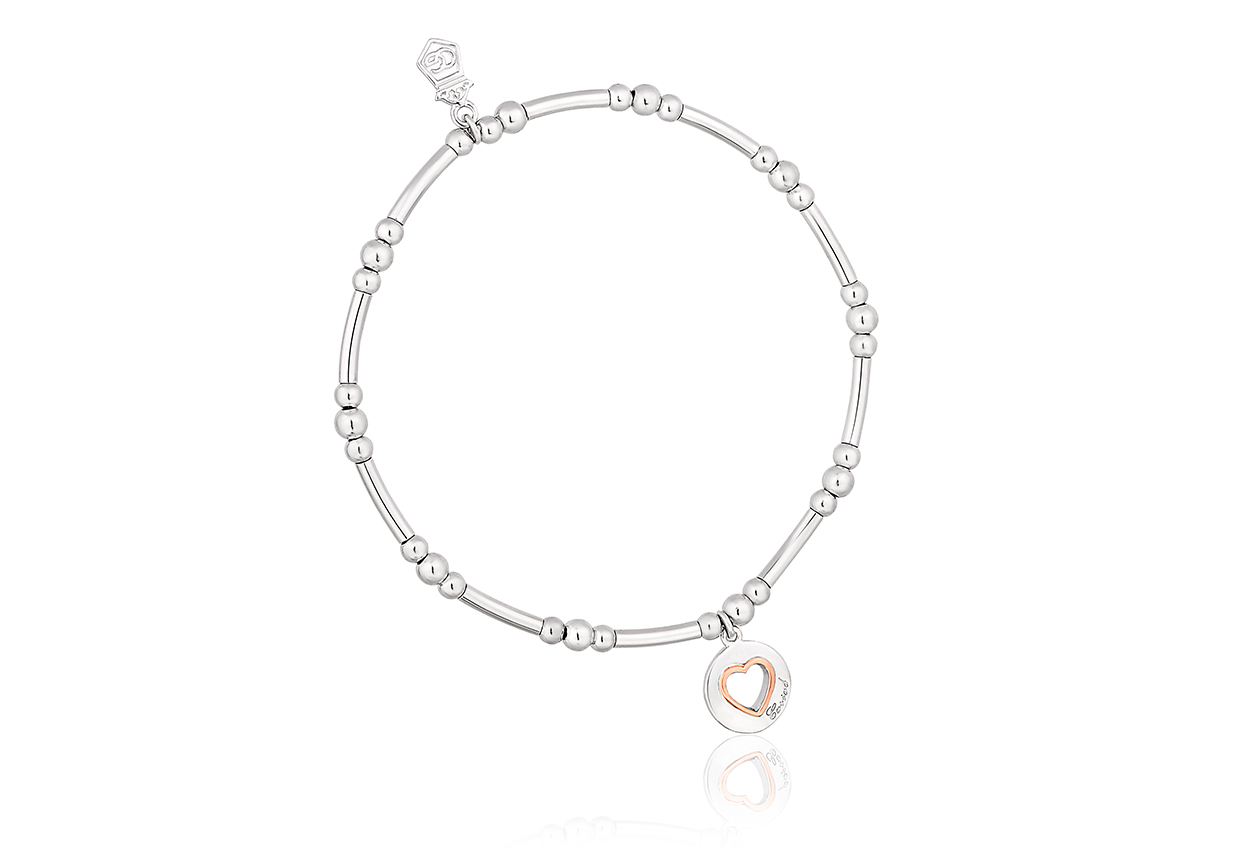 Silver Take My Heart Affinity Bead Bracelet 17-18cm