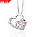 Silver & Rose gold Tree of Life<sup>®</sup> Double Heart Pendant *SALE*