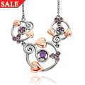 Ruthenium Plated and Amethyst Origin Necklace