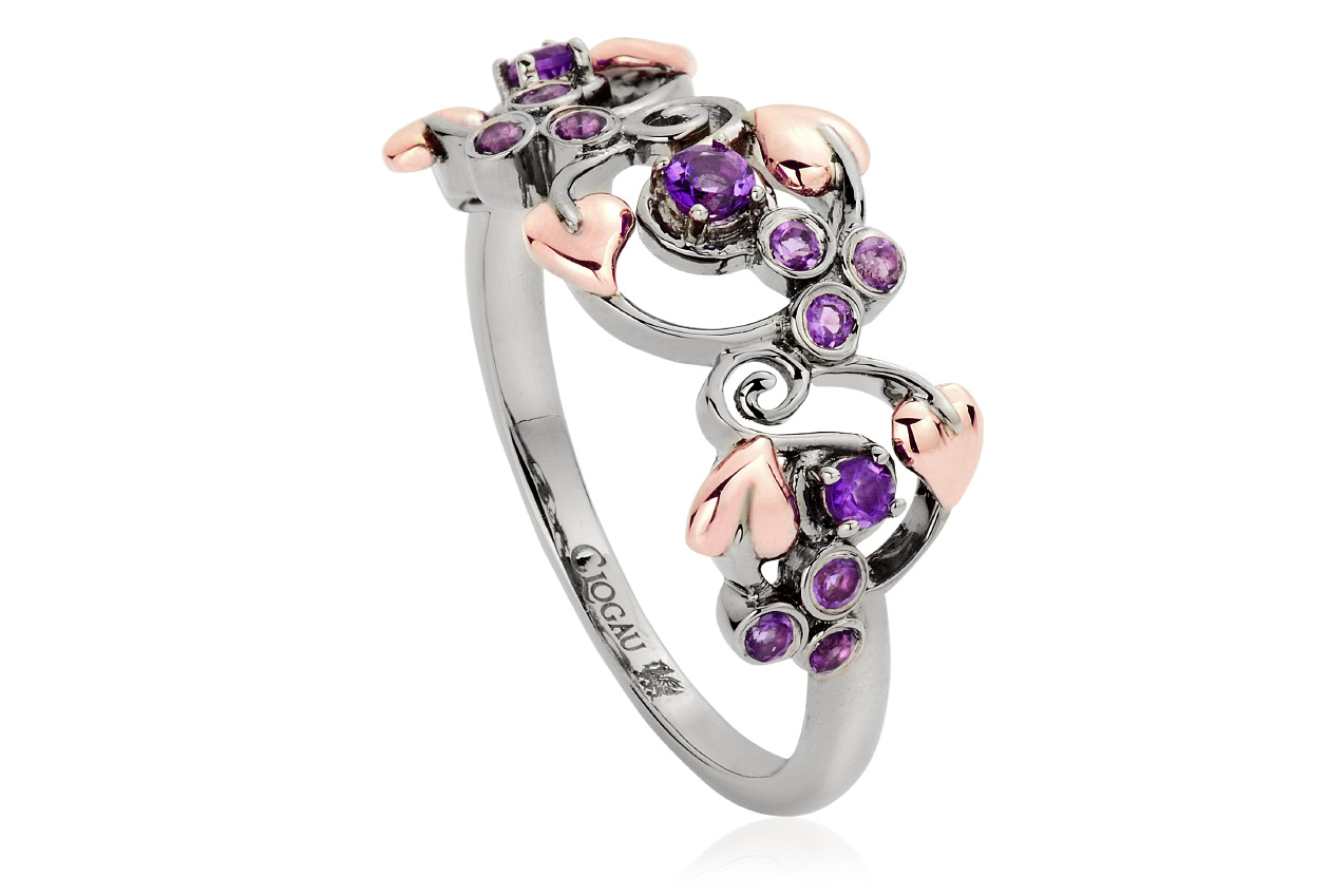 Ruthenium Plated and Amethyst Origin Ring *SALE*