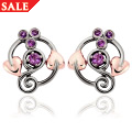 Ruthenium Plated and Amethyst Origin Stud Earrings