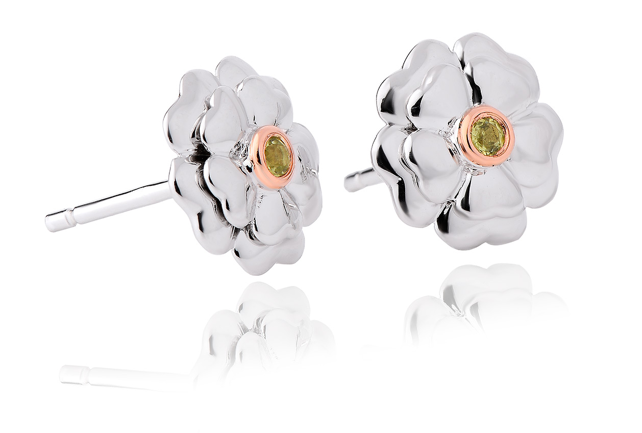 Flower Peridot Stud Earrings