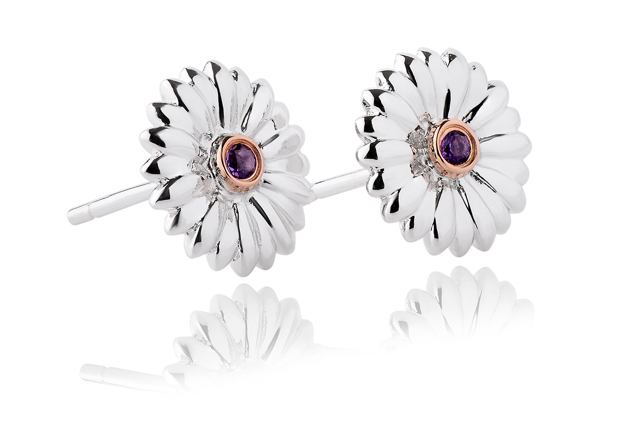 Flower Amethyst Stud Earrings