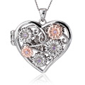 Ruthenium Fairy Floral Amethyst Heart Locket *SALE*