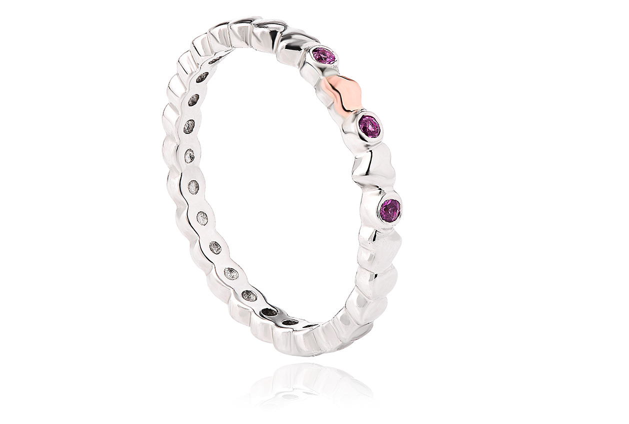 Affinity Pink Sapphire Heart Stacking Ring