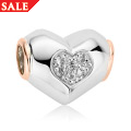 White Topaz Heart Bead Charm *SALE*