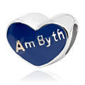 Am Byth Heart Blue Enamel Bead Charm