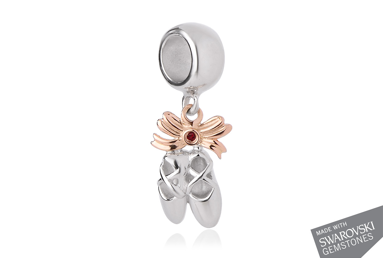 Ballet Shoes Swarovski Red Topaz Milestones Bead Charm *SALE*