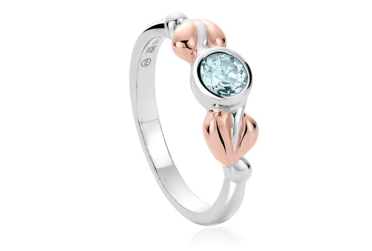 Tree of Life Love Vine Aquamarine Stacking Ring