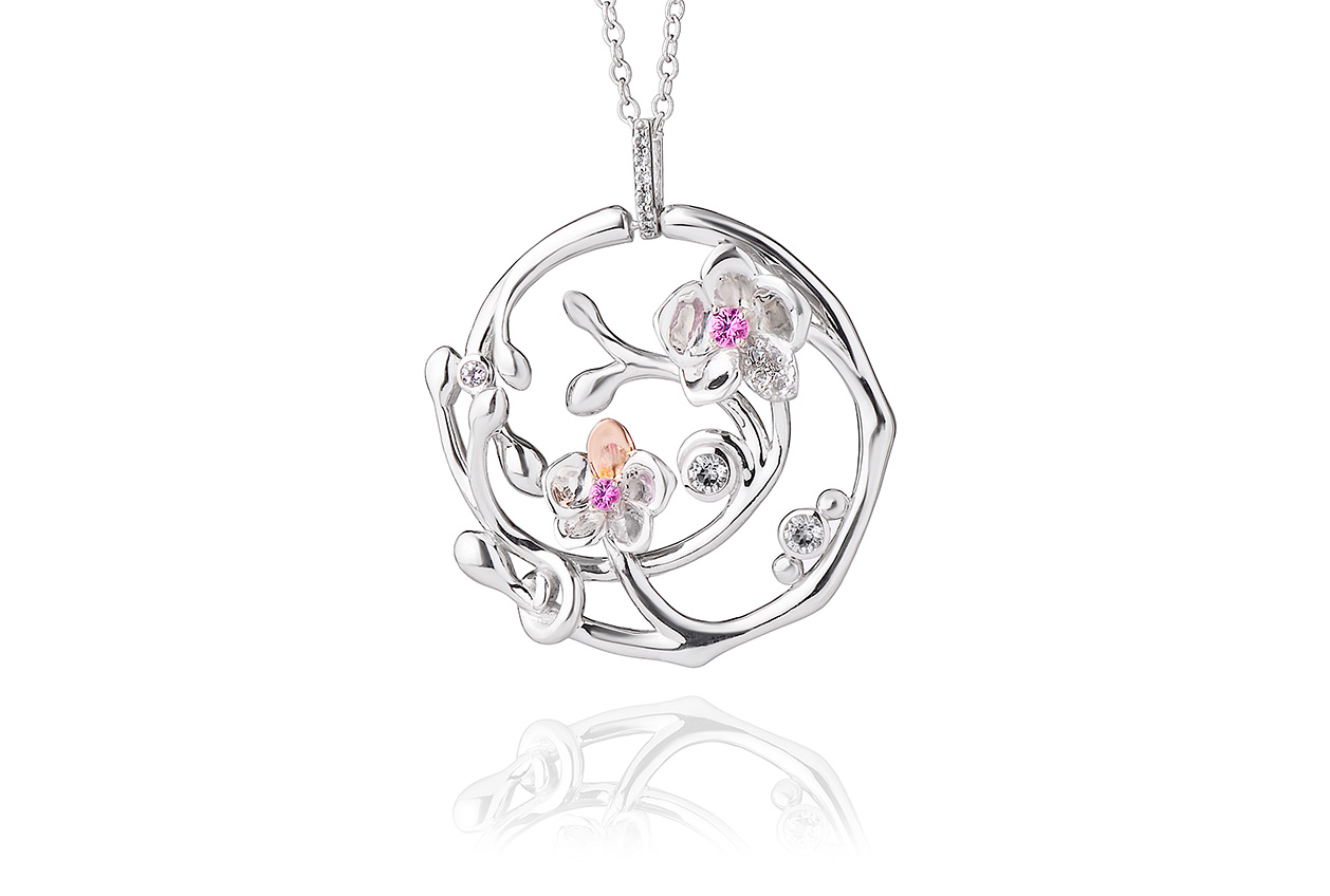 pendant in twist pink white sapphire top gold
