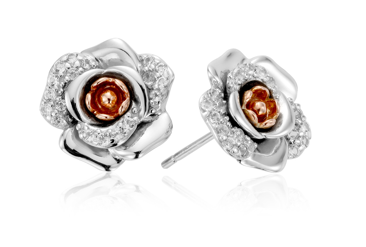 Rose White Topaz Earrings