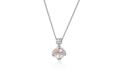 Royal Crown White Topaz and Pearl Pendant