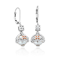 Royal Crown White Topaz and Pearl Drop Earrings