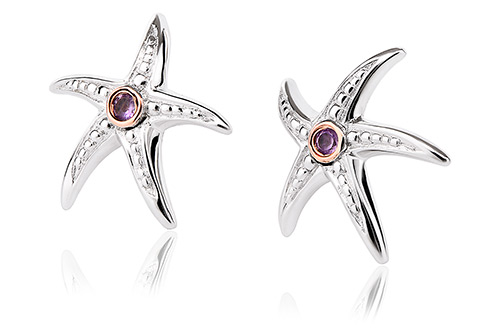 Starfish Amethyst Stud Earrings
