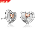 Tree of Life White Topaz Heart Stud Earrings