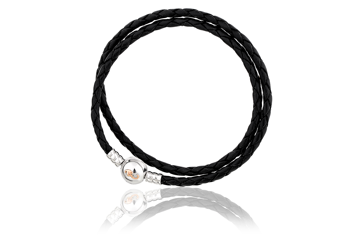 Silver Tree of Life Insignia Black Leather Bracelet