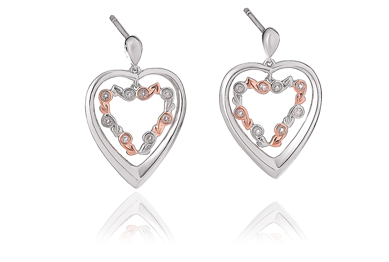 Tree of Life Eternity Heart Drop Earrings
