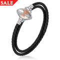 Welsh Rugby Union Black Leather Bracelet