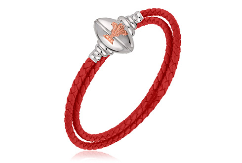 Welsh Rugby Union Red Leather Bracelet