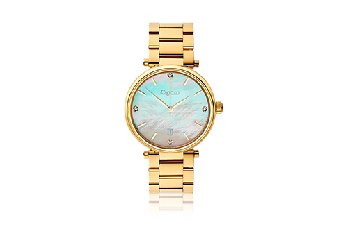 Ladies Classic Mother of Pearl Yellow Gold Plated Stainless Steel Watch
