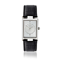 Mens Timeless Stainless Steel Watch with Black Strap