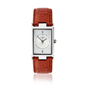Mens Timeless Stainless Steel Watch with Brown Strap