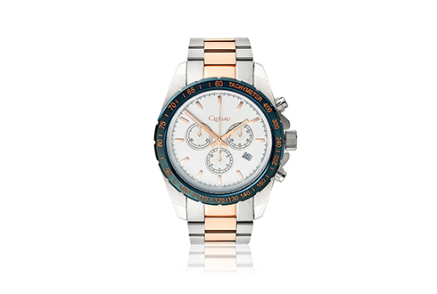 Mens Navy and Rose Gold Sports Watch