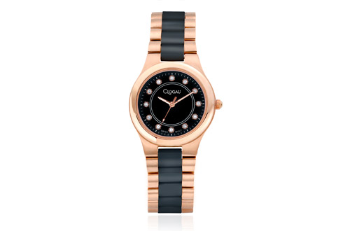 Black Ceramic and Rose Steel Ladies Watch