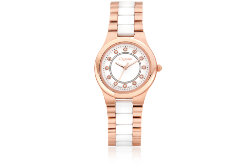 White Ceramic and Rose Steel Ladies Watch