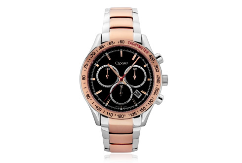 Mens Stainless Steel and Rose Steel Sports Watch