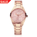 Pink Enamel Faced Tree of Life Watch