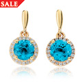 Ar Dan Blue Topaz Stud Earrings