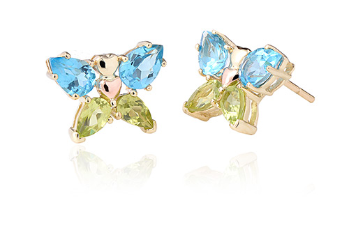 Butterfly Peridot & Blue Topaz Earrings