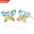 Butterfly Peridot & Blue Topaz Earrings *SALE*