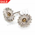 White & Yellow Gold Daisy Earrings *SALE*