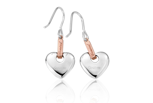 Clogau Silver and Welsh Gold Cariad Engraved Heart Stud Drop Earrings idArRnxfO