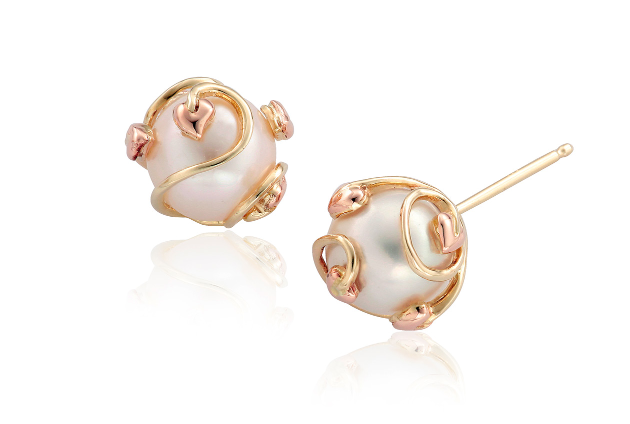Tree of Life Caged Pearl Stud Earrings