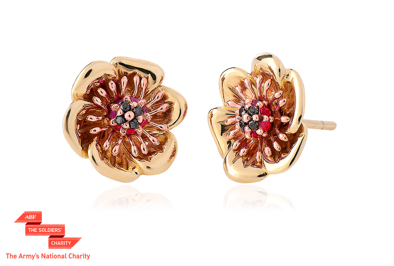 Welsh Poppy Diamond and Ruby Stud Earrings