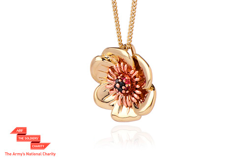 Welsh Poppy Diamond and Ruby Pendant