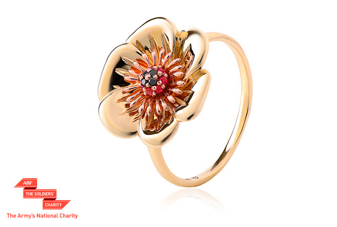 Welsh Poppy Diamond and Ruby Ring